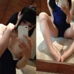 初芽里奈降臨!?美少女風ツインテのスク水美乳おっぱいポロリ鏡撮り