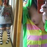 19歳のぽっちゃり女VIPEERがガチャピン着ぐるみ脱いでおっぱい鏡撮り