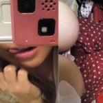 Fカップ爆乳なエロ乳輪おっぱいをポロンと出してるセクシーなお姉さん自画撮り写メ