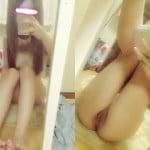 パイパン女性が全裸でおっぴろげてつるつる割れ目おま◯こモロ見え鏡撮り