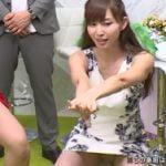 塩地美澄アナがタイトスカートでスクワットしてしまいパンチラ
