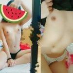 19才の貧乳女子が真っ平らなちっぱい晒してスレンダーヌード鏡撮り