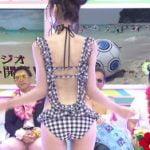 関西ローカルTV局が朝からスタジオでハミ尻エロい水着ショーを放送する