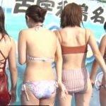 ローカル放送で水着女子大生達のお尻にスーパーシャワーを噴射させる