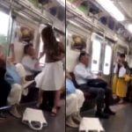 電車内で女性同士のキャットファイトが繰り広げられパンティが丸見えになる