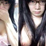地味系メガネのオタク女子がブラ外して巨乳なおっぱい自撮り