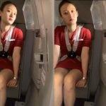 中国のキャビンアテンダントが前に座った客にパンツを盗撮される