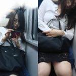関西の阪和線電車内で巨乳眼鏡透けスカートのエロいOLが盗撮される