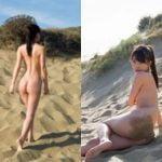 川崎あやがヌーディストビーチで全裸になって完全な生尻を晒す