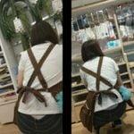 100円ショップSeriaの女店員がしゃがんだ瞬間を狙った腰パンチラ盗撮